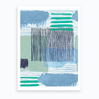 Abstract Striped Geo Green Art Print