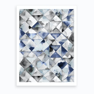Moody Triangles Cold Blue Art Print