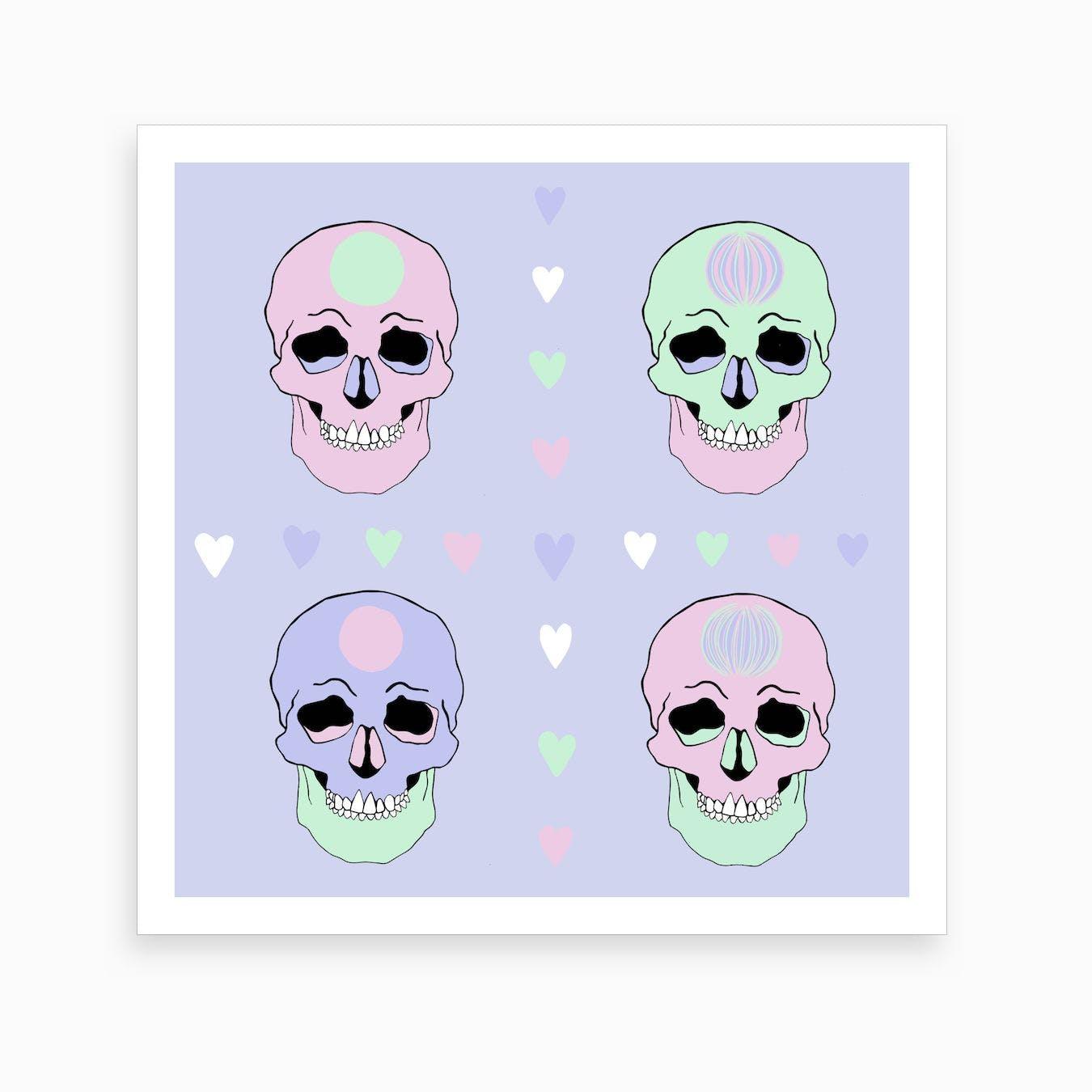 Love Skulls  Art Print