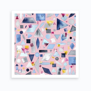 Geometric Pieces Pink Square Art Print