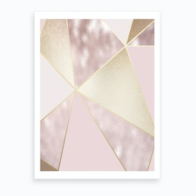 Rose Gold Baby Pink And Gold Line Abstract Art Print