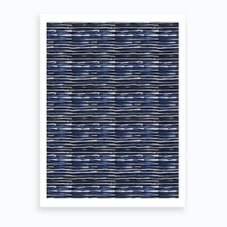 Electric Lines Navy Art Print