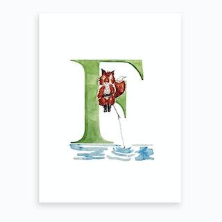 F Fishing Fox  Art Print