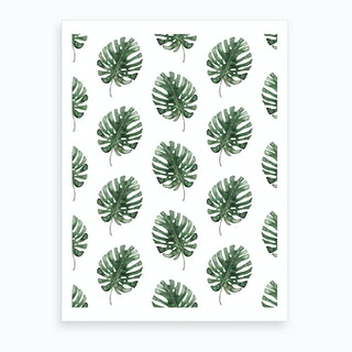 Monstera Leaf Pattern Art Print