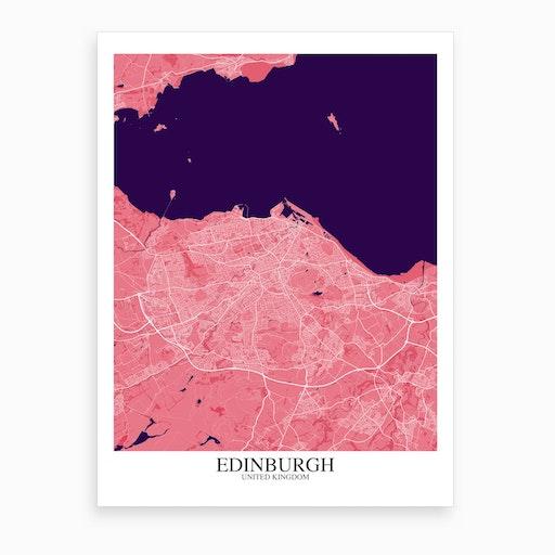 Edinburgh Pink Purple Map Art Print
