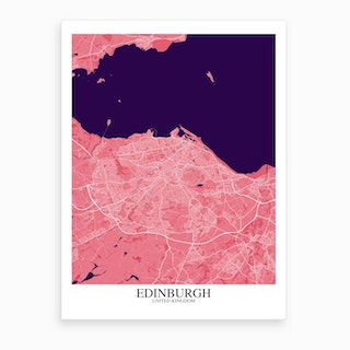 Edinburgh Pink Purple Map Art Print