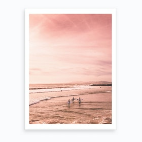 Surfers In Pink Beach Art Print