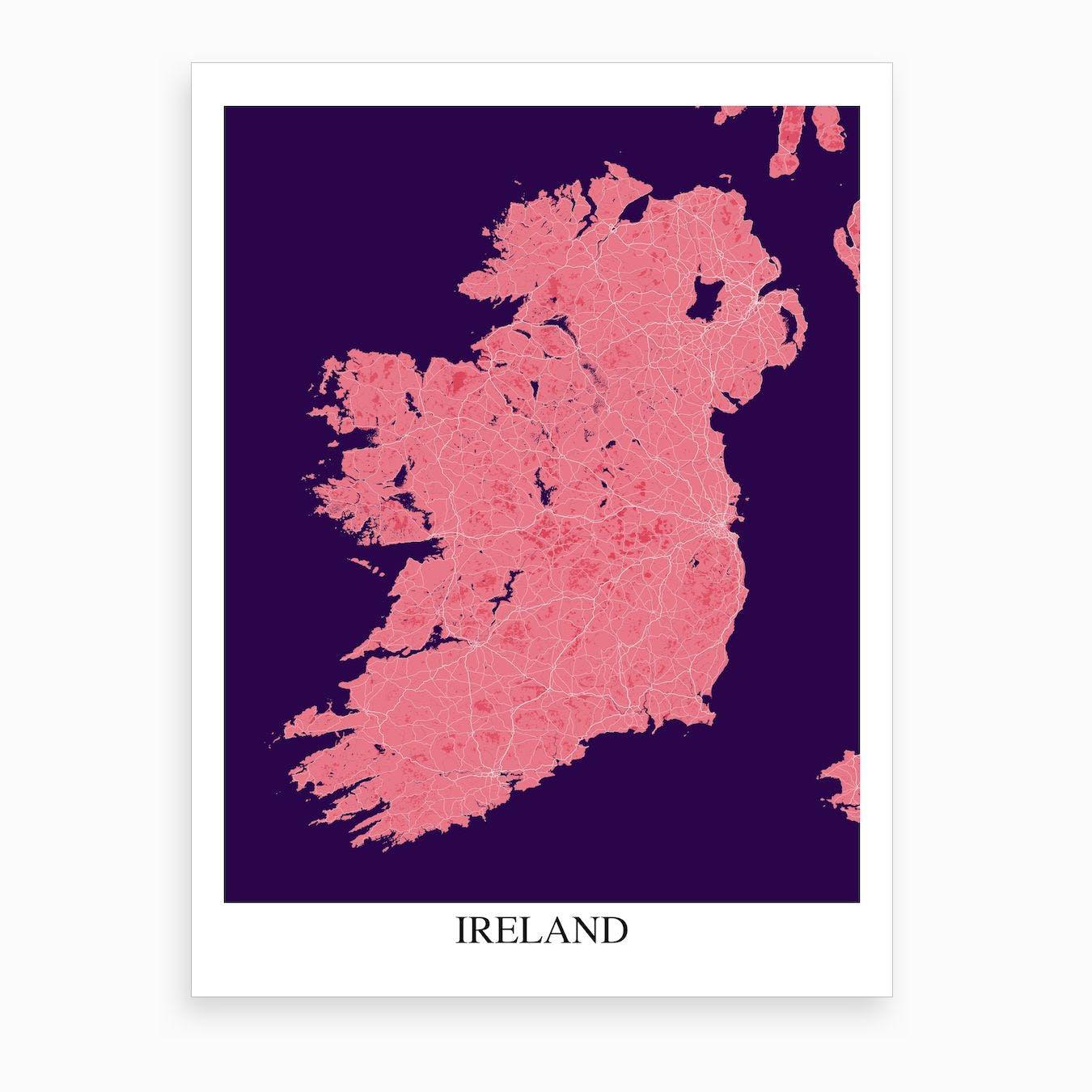 Ireland Pink Purple Map Art Print