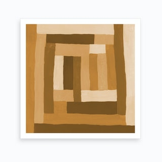 Painted Color Block Sprial In Mustard Art Print