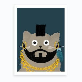 Cat Mr T Art Print