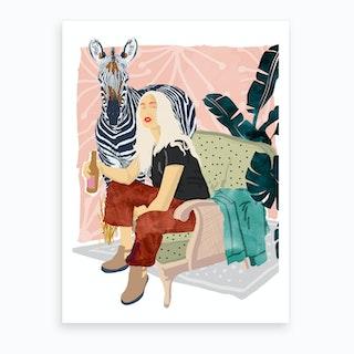 Zebra Hangout Art Print