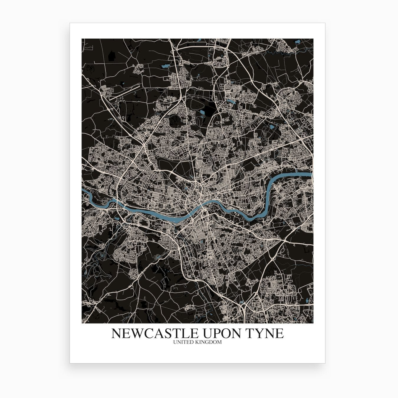 Newcastle Upon Tyne Black Blue Map Art Print