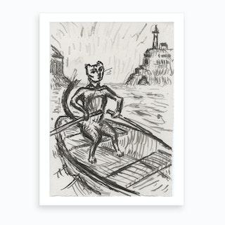 Cat In Boat Art Print