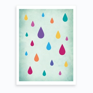 Rainbow Raindrops Nursery Art Print