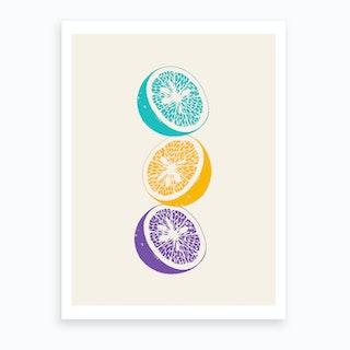 Blue Oranges Art Print