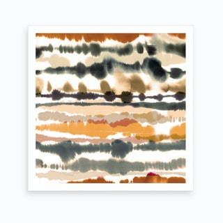 Soft Nautical Watercolor Lines Brown Art Print