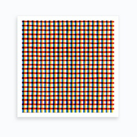 Crossed Eyes Lines Red Square Art Print