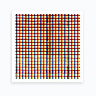 Crossed Eyes Lines Red Square Art Print