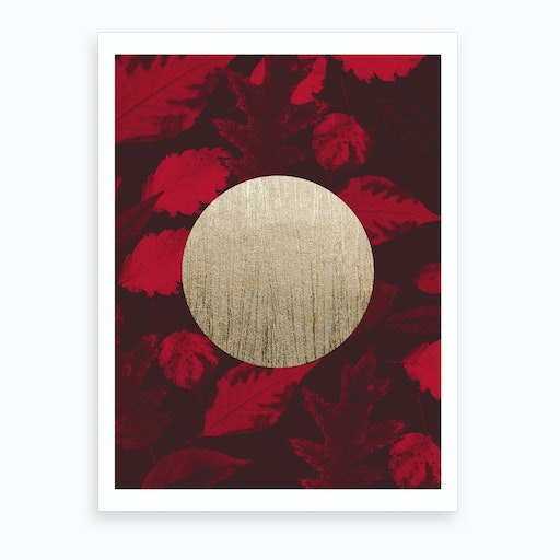 Gold Moon Red Art Print