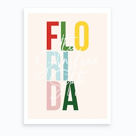 Florida The Sunshine State Color Art Print