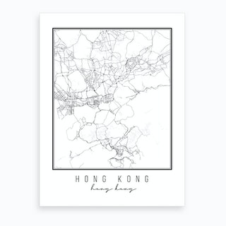 Hong Kong Hong Kong Street Map Art Print