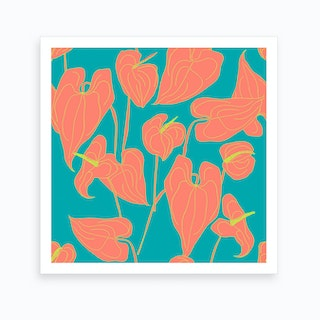 Bright Coloured Anthurium Art Print