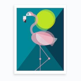Mid Century Geometric Flamingo Art Print
