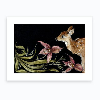 Fawn And Orchids Art Print