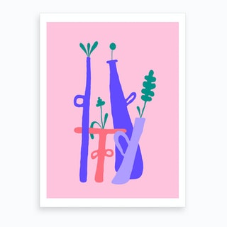 Pink Plant Composition 1 Art Print