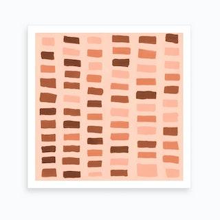 Painted Color Block Window Pane In Pink Art Print
