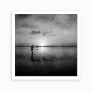 African Sunset Black And White Art Print