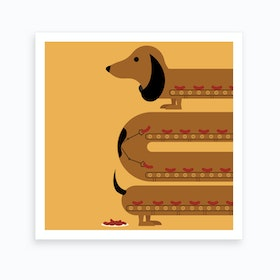 Sausage Dog Square Art Print