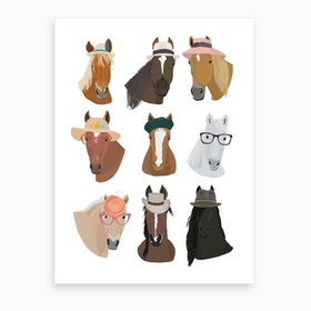 Horses In Hats Art Print