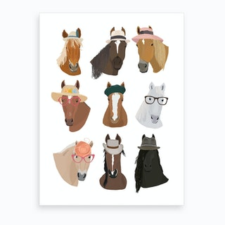 Horses In Hats Art Print