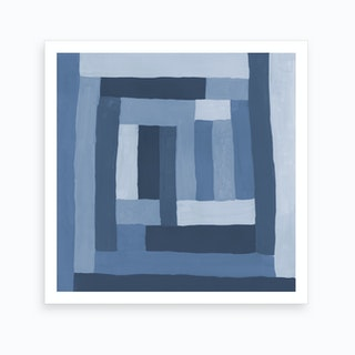 Painted Color Block Sprial In Blue Art Print
