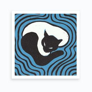 Cat On A Mat 2 Art Print