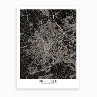 Sheffield Black Blue Map Art Print
