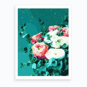 Floral And Confetti Art Print