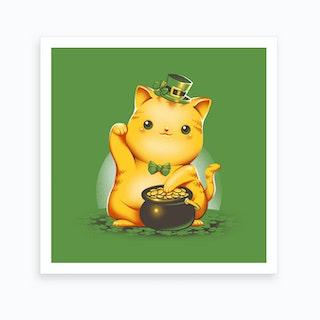 Irish Lucky Cat Art Print