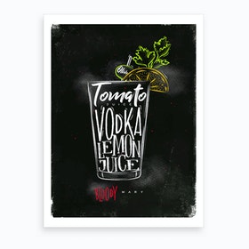 Bloody Mary Chalk Cocktail Art Print