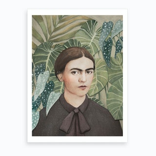 Frida With Plants Art Print