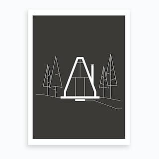 Forest Hut Black 7 Art Print