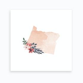 Oregon Watercolor Floral State Art Print