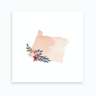 Oregon Watercolor Floral State Art Print
