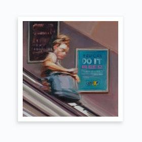 Woman On Escalator Art Print