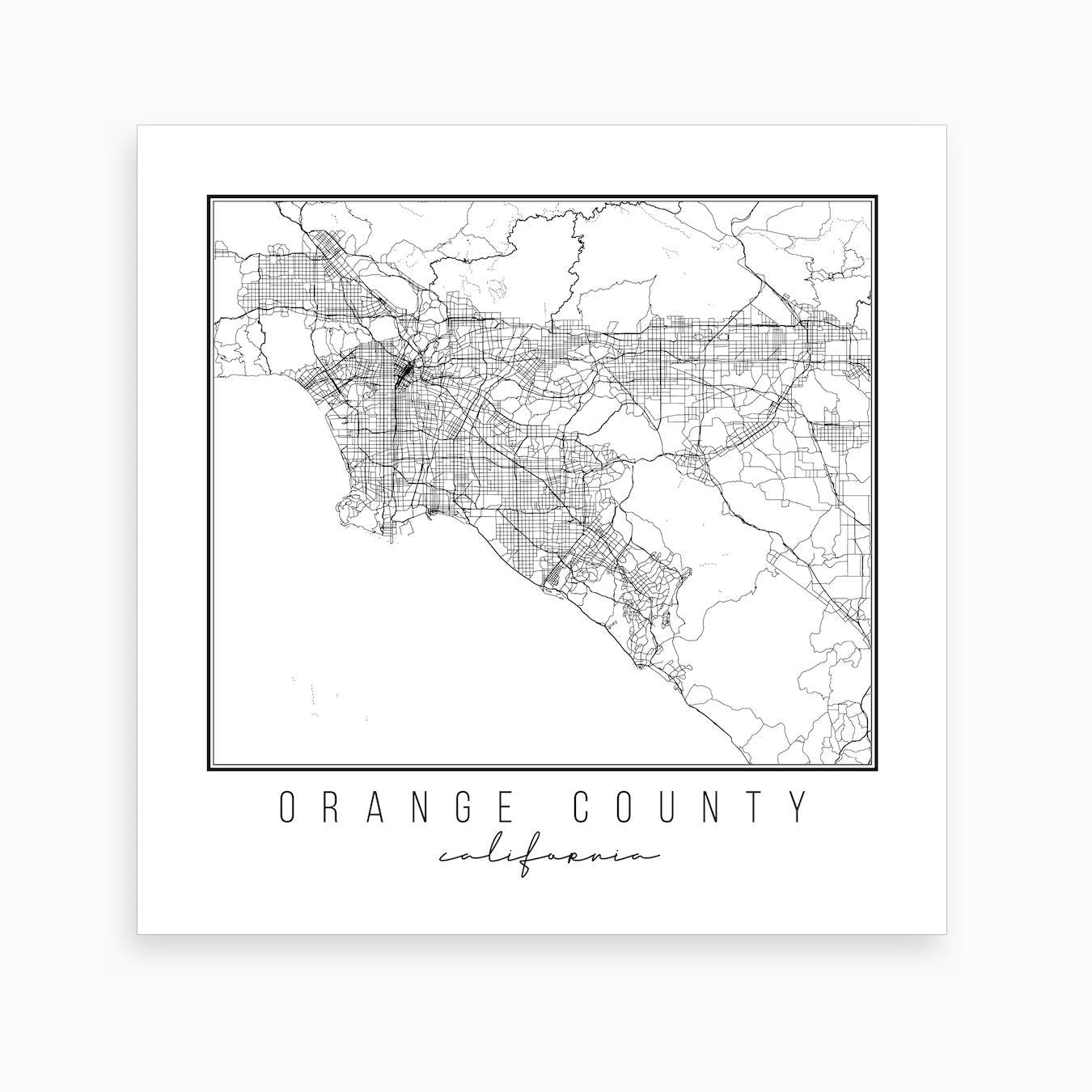 picture relating to Printable Map of Orange County Ca called Orange County California Highway Map Artwork Print