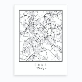 Rome Italy Street Map Art Print