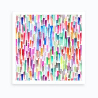 Colorful Brushstrokes Multicolored Square Art Print