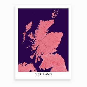 Scotland Pink Purple Map Art Print