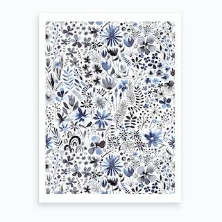 Winter Ink Flowers Art Print